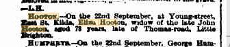 Eliza Hooton death notice