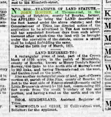 Transfer of Land Statute
