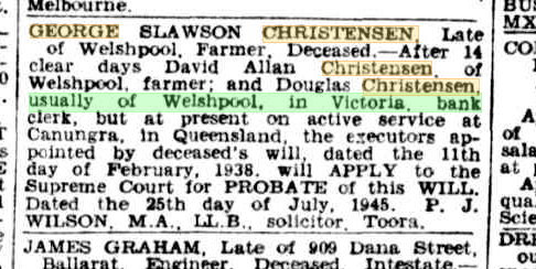 George Slawson Christensen probate notice