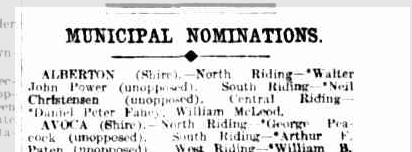 Municipal nominations