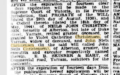 Neils John Christensen probate notice