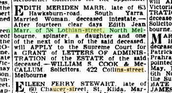 Edith Meriden Marr Probate Notice