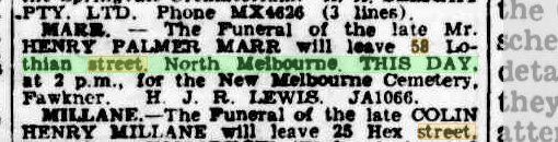 Henry Palmer Marr funeral notice