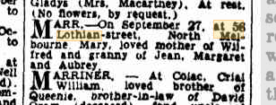 Mary Marr (nee Reeves) death notice