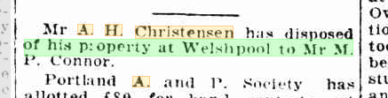 A H Christensen disposed of property at Welshpool