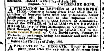 William Owen Edward Russell Letters of Administration