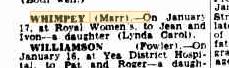 Lynda Carol Whimpey birth notice