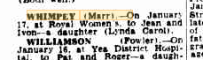 Lynda Carol Whimpey birth notice