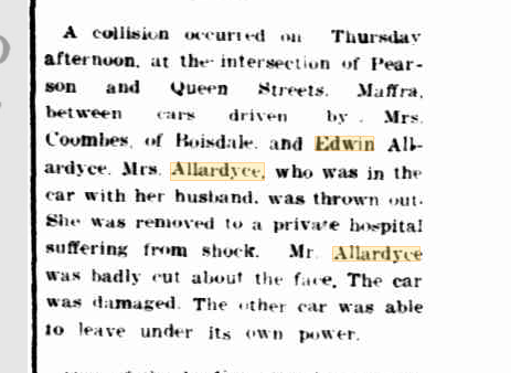 Allardyce car accident