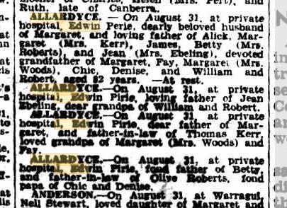 Edwin Pirie Allardyce death notices