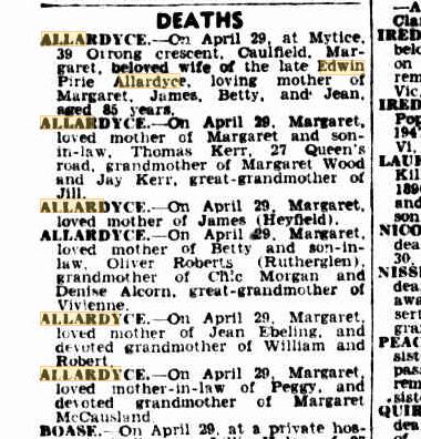 Margaret Allardyce death notices