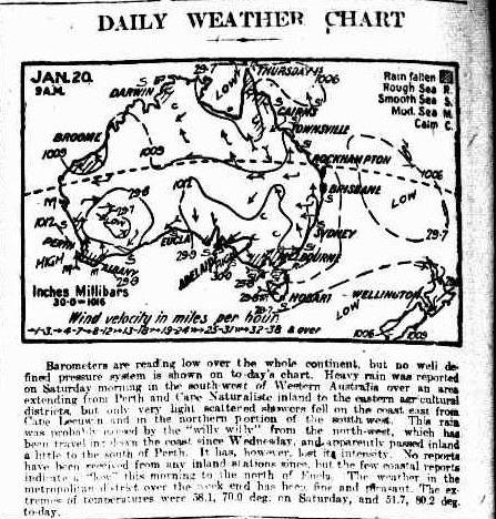 Daily Weather Chart 22 Jan 1923