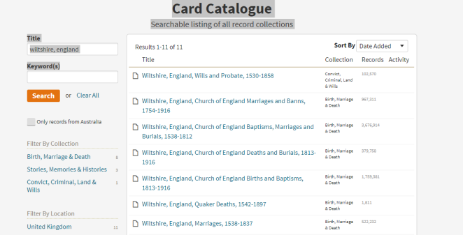 Wiltshire card catalogue