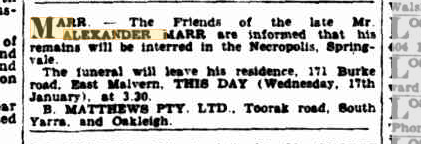 Alexander Marr death and funeral notices