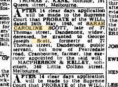 Sarah Caroline Scott Probate Notice