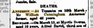 William Cunningham Anderson death notice