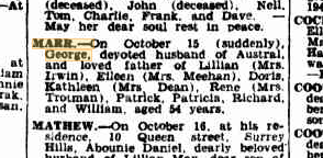 George Marr death notice