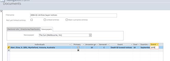 Database entry