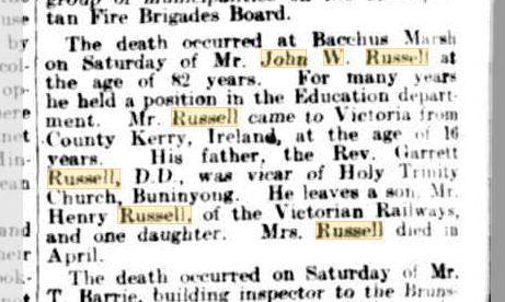 John W Russell death