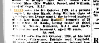 John William Russell death notice