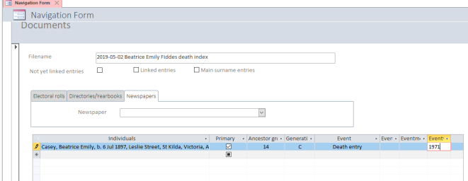 Beatrice entry in database