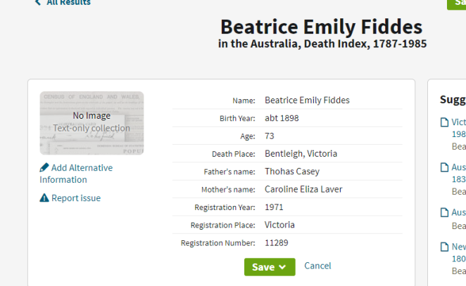 Beatrice Fiddes death index