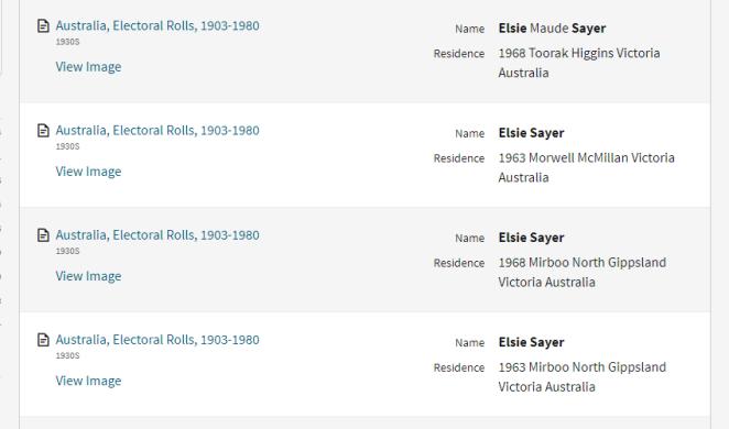 Elsie Sayer results
