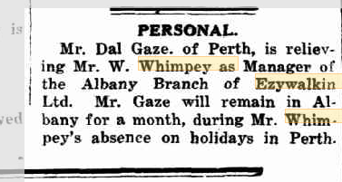 Personal Mr W Whimpey