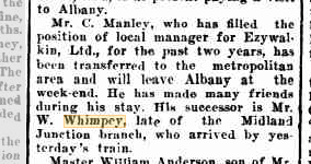 Personal W Whimpey arrival in Albany
