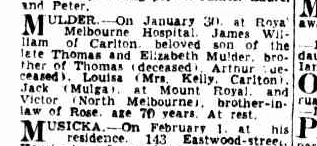 James William Mulder death notice