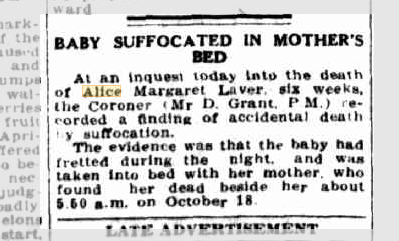 Baby Suffocated in Mother's Bed