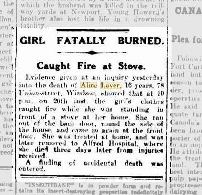 Girl Fatally Burned